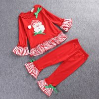Wholesale Girls Christmas Dress Suits - New Christmas Children Set Stripe Dress + Pants Kids Outfits Sets Girls Tops Flares Trousers Child Clothing Suits Red