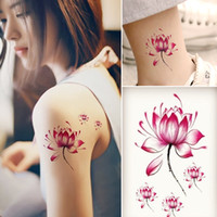 Wholesale Beautiful Back Tattoos - Body tattoo sticker Art waterproof temporary tattoos sticker for men and women Beautiful 3d lotus flower design small tattoo sticker