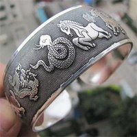 Wholesale Chinese Tibetan Jewelry - Wholesale-2014Fashion Hot Sale Retro Tibetan Tibet Silver Chinese Zodiac Bracelets Nearround Metal Animal Totem Cuff Bangles Women Jewelry