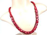 De boa qualidade Mulheres Hot Party Chokers Stement Handmade Strings Necklace Beads Imiatation Red Coral Charm Girl Necklace Collares Jewelry