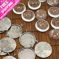 Wholesale Transparent Cabochons Settings - Wholesale-10 Set Glass Cabochons settings 26mm Transparent Clear Domed Magnifying handmade photo Cover for DIY Photo Pendant blank Making