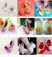 Wholesale Crochet Flower Leave - Hot Sale 9 style Cheap Hanodmade baby shoes Crochet baby girl shoes ballet shoes flower leaves ribbon 0-12M 20pairs lot cotton 0-12M cotton