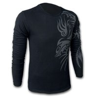 Wholesale Blue Dragon Wholesale - Wholesale-Free shipping European and American Style Dragon tattoo long sleeve Brand poloshirt T shirt for men ,Mens O-neck Fashion T-shirt