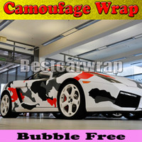Wholesale Vinyl Wrap Red - Red white Black arctic Camo Vinyl Car Wrap Film With Air Rlease Gloss   Matt Snow Camouflage Pixel Car Sticker 1.52x30m Roll(5x100ft)