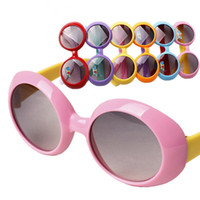 Wholesale Cute Frames - Unisex Kids Round Candy Colors UV 400 Protective Shades Children Goggles Boys Girls Fashion Sunglasses Outdoor Baby Cute Glasses 24 Pcs Lot