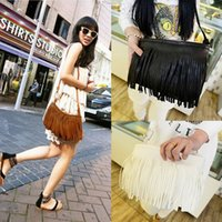 Vente en gros-Femmes élégantes Punk Satchel Tassel Suede Fringe Shoulder Messenger Cross Body Bag Celebrity Faux Cheap and New Hot Selling