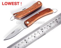 Wholesale Zero Profit - Zero profit! Multi-function folding outdoor knife wooden handle mini pocket knife folding knife outdoor survival and rescue