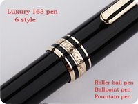 Wholesale silver ball pen - Luxury Meisterstcek #163 black resin golden silver clip Roller ball pen Ballpoint pen Fountain pens Monte brands and Germany Serial Nunber