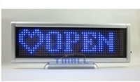 Wholesale 12v Led Scrolling Sign - Wholesale-Blue LED Sign Board Programmable Message Scrolling Moving Display Desk shop Bar