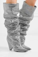 cunhas pontudas venda por atacado-Mais novo de Luxo Mulheres de Cristal Pointy Toe Na Altura Do Joelho Botas Altas Botas de Salto Robusto Sexy Deslizamento Em Senhoras Botas de Cavaleiro Sapatos de Runway Strass Bootas 42