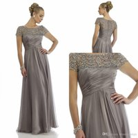 Wholesale Sheer Rhinestone Dresses - 2017 Vintage Sheer Crystal Chiffon Mother Dresses 2016 Short Sleeve Rhinestone Ruffles Empire Scoop Neckline Mother Of Bride Groom Dresses
