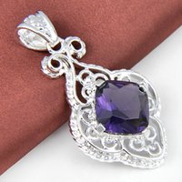 Wholesale Top American Wholesalers - Top Quality Luckyshine 5PCS Lot Square Amethyst Gemstone 925 Silver Pendant American Weddings Jewelry Gift