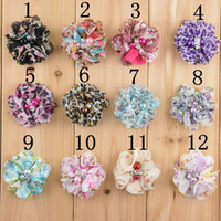 Wholesale Wholesale Felt Hats For Children - Mix colors 5CM new printed chiffon hand sewn pearls rhinestone flower for hats, baby girl children hair accessories felt flowers