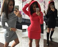 frauen vintage kleider großhandel-Winter-Herbst-Frauen-Kleid-Weinlese-eleganter Sport kleidet reizvolle lange Hülsen-Taschen schwarze Gary-Rot-beiläufige Kleidung der Frauen freies Verschiffen