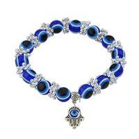Wholesale Silver Bracelet Hand Pendant - Hand Pendant Decoration Blue Color Beads Bracelet Pulseiras for Women Bracelets and Bangles Boho Jewelry
