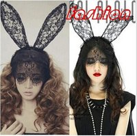 Wholesale Lace Cat Mask Ears - Lady gaga sexy lace cat ears veil rabbit ears hair bands party halloween dorp shipping