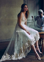 Wholesale tea length winter ivory wedding dress for sale - Sexy High low Fabulous Tulle Lace V neck Neckline A line Asymmetrical Wedding Dresses with Appliques Lace Wedding Dresses Bridal Gown