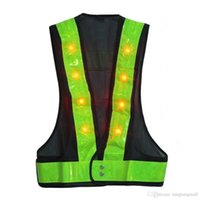 Wholesale Neon Stripe - 16 LED Light Up Safety Vest With Reflective Stripes Kevlar Tactical Vest Neon lime V clothing Safety Belt Article Printing A5