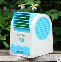 Wholesale Air Fan Bladeless - New Office Home Mini Fan Cooling Desktop Dual Bladeless USB Mini Air Conditioner Free shipping DHL