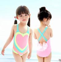 Wholesale Gauze Swimsuits - Baby girls swimsuits kids gauze BOWS one piece swimwear children big love heart backless beachwear sports swimming bathing suit R0631