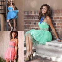 Wholesale Sweetheart Glitter Sequin Short Dress - Mint Green Tulle Short Party Dresses 2015 Myriam Fares A Line High Neck Sparkly Glitter Beads Cocktail Formal 2016 Homecoming Dress