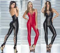 catsuit spandex giyinmek toptan satış-Seksi Iç Çamaşırı PVC Spandex Siyah / Kırmızı Faux Deri Gotik Fetiş Catsuit Tulum Clubwear Fantezi Elbise 404