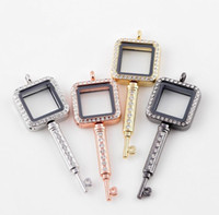 Wholesale Diy Frame Pendant - Keys Floating Locket Hot Sale DIY Transparent Glass Frames Floatings Charms Lockets Pendants Fashion Jewelry Wholesale Free Ship 0061KLF