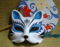 japanese mask al por mayor-Pintado a mano Fox Máscara Endulge Japanese Mask Upper Half Face Halloween Masquerade Party Cosplay Máscaras envío gratis