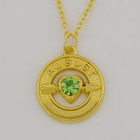 Wholesale August Birthstone Pendant - New Trendy 100pcs 18K Gold Plated Birthstone Crystal Peridot August Arrow To Heart Round Pendant Necklace