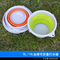 Wholesale Gloves Hit - Wholesale-Thickening collapsible bucket hit EVA ultra-soft silicone candy color portable retractable fishing bucket 5L   10L