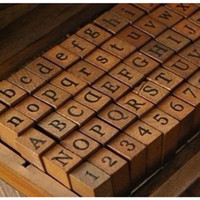 Wholesale Alphabet Stamp Wood Box - DIY Vintage Wood Stamp Blocks Handwriting Alphabet Lower Upper Case Digital Symbols Rubber Stamp with Wood Box Promotion SK755