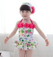 Wholesale Cute Girls Bathing Suits - 2015 Summer girls Swimwear sweet cute printing kids bathing suit with flowers Condole belt children one-piece swimsuit 90-140 ab602