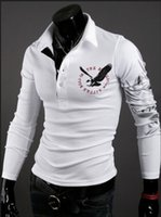 Wholesale Eagle Tattoo Polo - FG1509 Men eagle tattoo printing tops cultivating long-sleeved turn-down collar POLO shirt plus size M - XXL