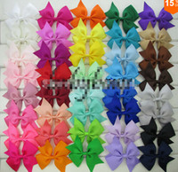 Wholesale Toddling Baby - 10%off 80pcs lot 3 Inch Grosgrain Ribbon Hair Bows With Clip Baby Girls Organza Hair Bows For Toddle Hair Accessories