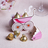 cajas amarillas del caramelo de la boda al por mayor-2015 Nuevo Bebé Carriage Style Favor Box Baby Shower Favorecer Regalos cajas Wedding candy Box event party supplies Pink Blue yellow color