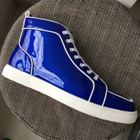 Nuevo 2018 Mens Womens Blue Charol Square Toe High Top Sneakers, diseño de marca Red Bottom Casual Shoes 35-47 Envío de la gota