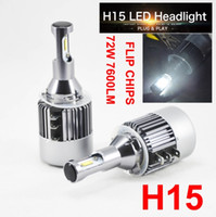 1 Set H15 LED Headlight Kit 72W 7600LM Faróis de carro Bulbos Hi / Low Beam 6K Branco Driving DRL Daytime Running Light PARA Ford VW BMW Benz Audi