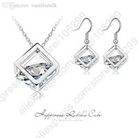 Wholesale Genuine Rubik Cube - Wholesale-Happiness Rubik Cube Jewelry Sets Genuine Fine 925 Sterling Silver Cubic Zirconia Pendant Necklace Hook Drop Earrings Set