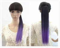 Wholesale Two Ponytails Straight Hair - Fashion dyeing two-tone Ombre Color straight ponytail hair extension