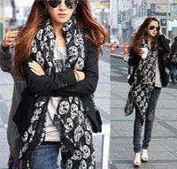 Wholesale dual scarf - Wholesale-2015 autumn and winter female fluid ultra long paragraph skull scarf silk scarf cape ultralarge dual 50cm*160cm