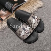 Wholesale Print Pu Leather Design - With box New arrivals 2017 fashion Luxury brand mens Bee print leather slide sandal slippers Frida Giannini design beach flip flops