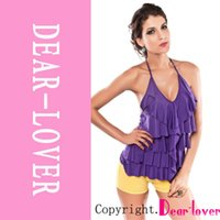 Wholesale Cheap Clubwear Free Shipping - Cheap Summer Hot 2014 Ladies Vest Top, Purple V-Neck Layered Ruffle Halter Top sexy top for lady clubwear Free Shipping FG1511
