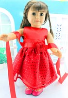 Wholesale Handmade American Girl Doll - 2015 New Fashion Red Dress Christmas Gifts For Children Girls Dolls Accessories For 18'' American Girl Doll Handmade Dress