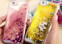 Wholesale iphone dynamic sand case - Transparent Dynamic Liquid Glitter Color Sand Quicksand Star Back Cover Phone Case for Iphone s plus