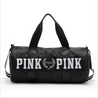 Wholesale Luggage Bag Fabric - Pink Letter Travel Bag Large Capacity Hand Luggage Travel Duffle Bags Weekend Bags Fitness Gym Handbags Beach Bag 5 Colors