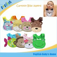 Wholesale Dribble Bibs - Free shipping wholesale 40pcs cotton chatacter cartoon style waterproof baby bibs Infant saliva towels dribble bib