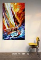 ingrosso pittura a olio d'onda-Barca a vela Wave su Ocean Palette Coltello Pittura a olio Immagine di arte della parete Stampato su tela per arredamento casa per ufficio