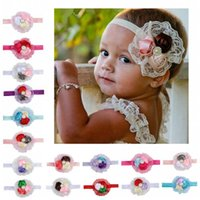 Wholesale Kids Headbands Made - 17Colors Hand-Made Infant Flower Pearl Headbands Girl Lace Headwear Kids Baby Photography Props NewBorn Bow Hair Accessories Baby Hair bands