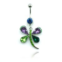 Wholesale Dragonfly Piercing - Wholesale Latest Fashion Belly Button Rings Dangle Crystal Color Dragonfly Stainless Steel Navel Body Piercing Jewelry