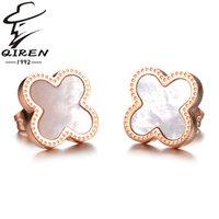 Wholesale Bell Flower Earring - Titanium steel stud earrings rose gold lucky clover earrings women's bells Mother-of-Pearl flowers hot sale stud earrings